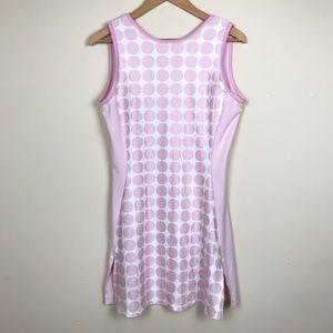 Adidas Pink White Polka Dot Athletic Dress